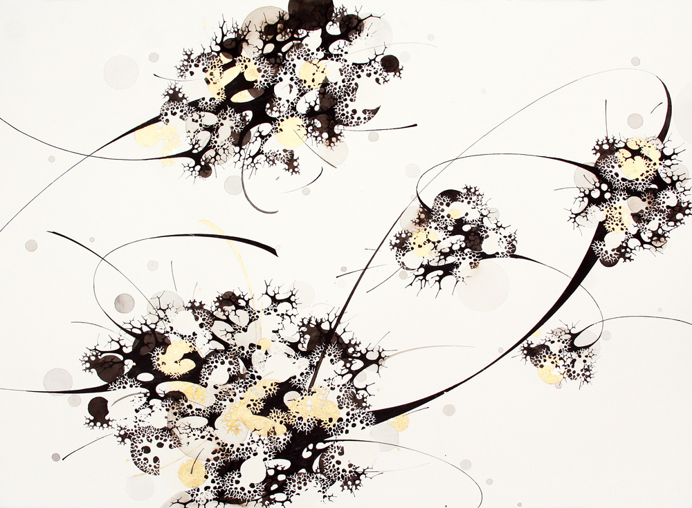 Hyungsub Shin Uprooted, 2010 Sumi Ink, watercolor, gold leaf on paper 35 x 22.25 inches  /  88.9 x 56.5 cm  /  HSi 3