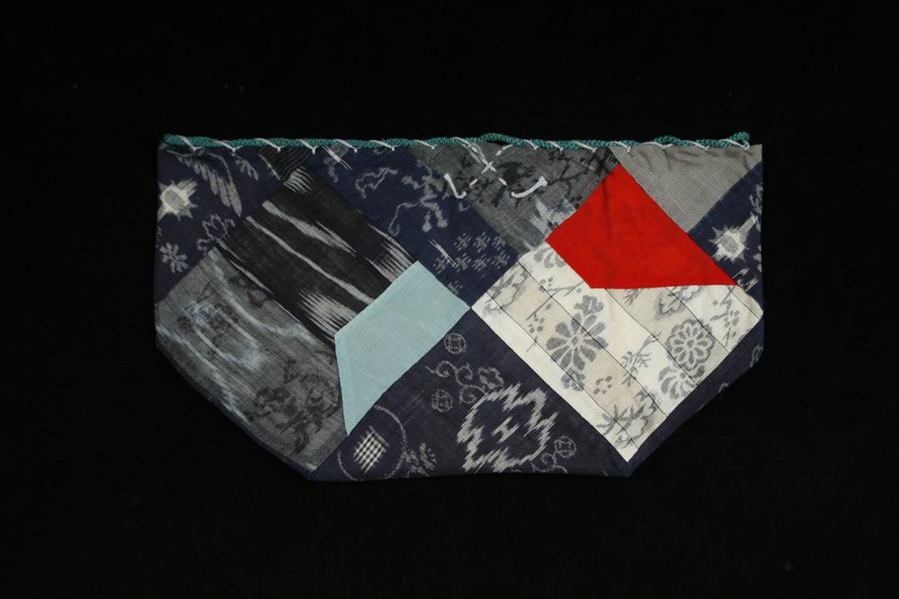 Japanese Textiles Kome-bukuro , Meiji-Taisho Period Asa (Hemp) & Silk 9.25 x 17 inches / 23.5 x 43.2 cm / JTex 592