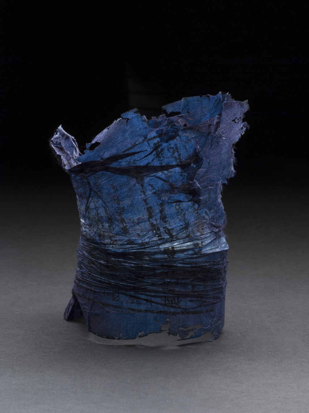 Yuko Kimura    Indigo Shiwa Shiwa (wrinkle wrinkle) no. 2  , 2013 Indigo dye on pleated old bookpages from Japan  /  3.75 x 3.625 x 2.75 inches  /  9.5 x 9.2 x 7 cm  /  YuK 23