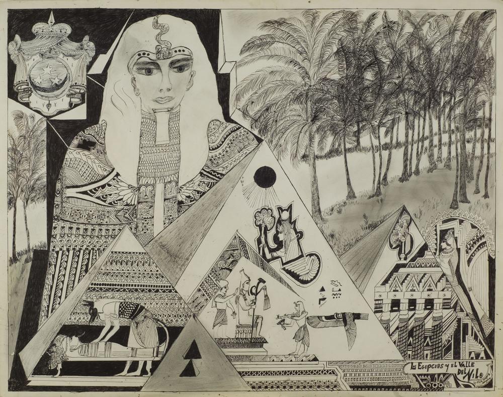 Chelo Amezcua    Los Egipcios  , nd. Graphite, ink/matboard / 29 x 23 inches / 73.7 x 58.4 cm / CA 84