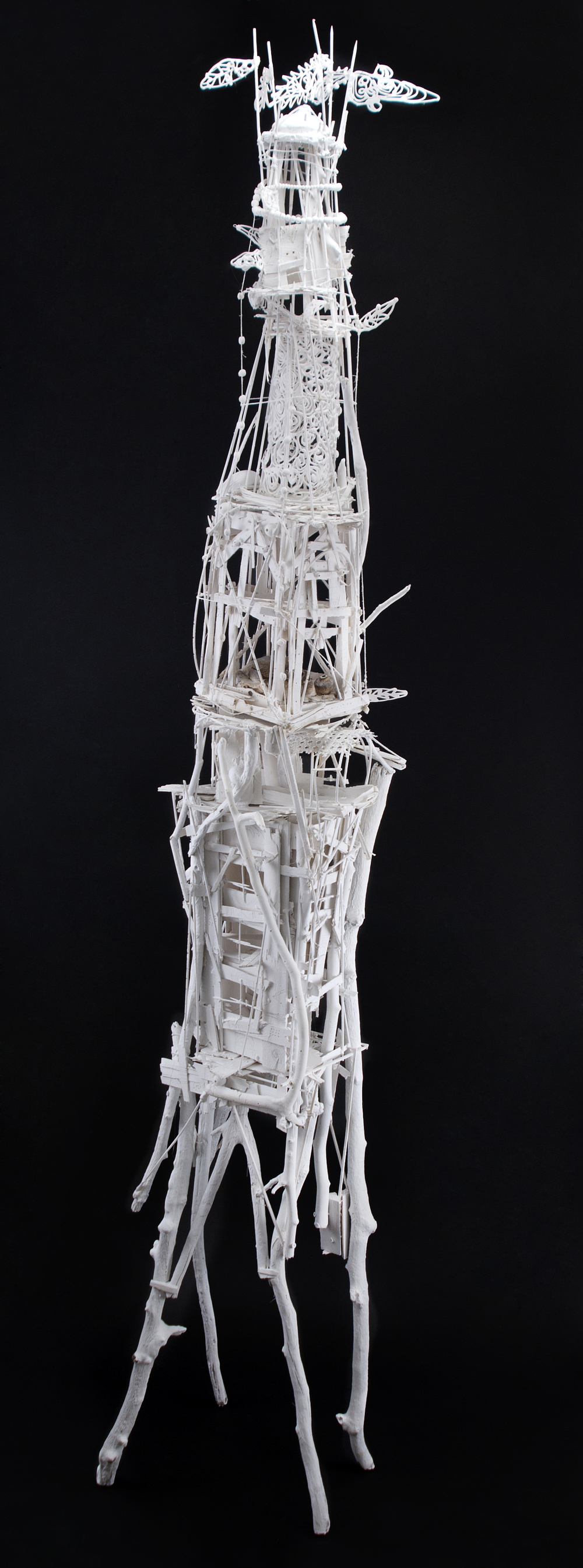 Sylvain Corentin    Rome Tower  , 2012 Wood, canvas, wire, yarn, glue, paint 88 x 16 x 13 inches  /  223.5 x 40.6 x 33 cm  /  SCo 5