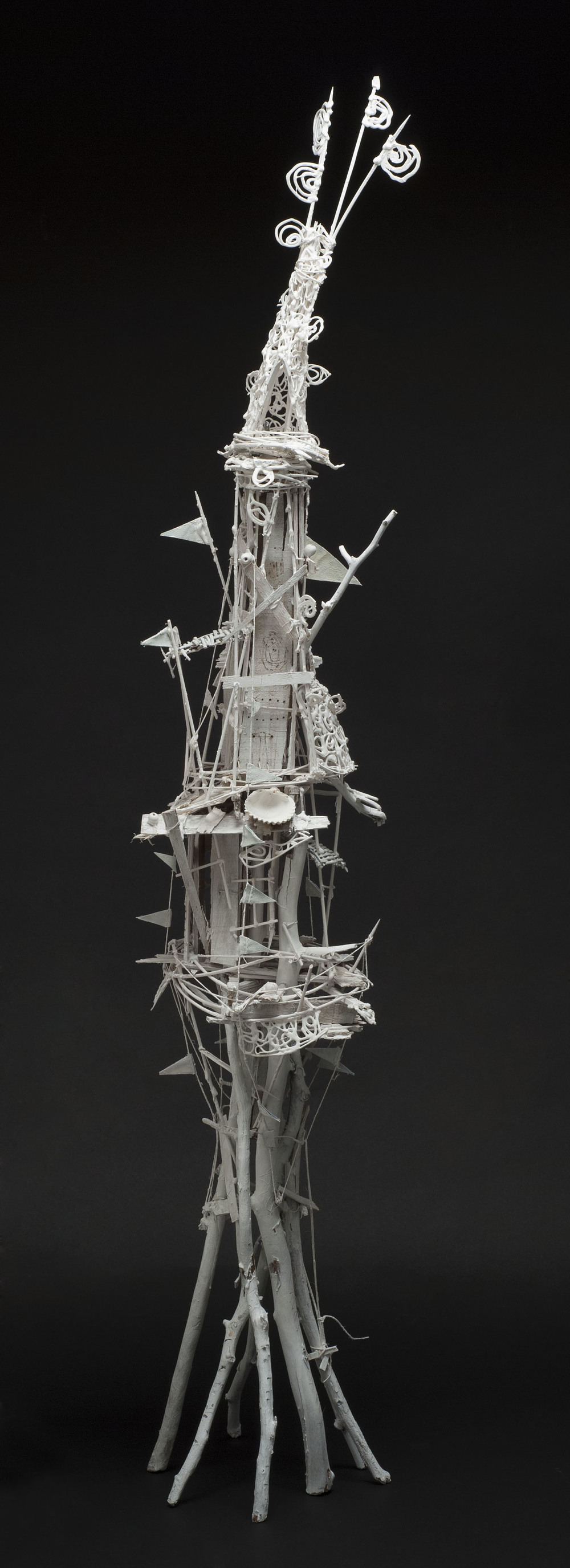 Sylvain Corentin    White Tower (small)  , 2012 Wood, canvas, wire, yarn, glue, paint 53.75 x 9 x 9.5 inches  /  136.5 x 22.9 x 24.1 cm  /  SCo 8