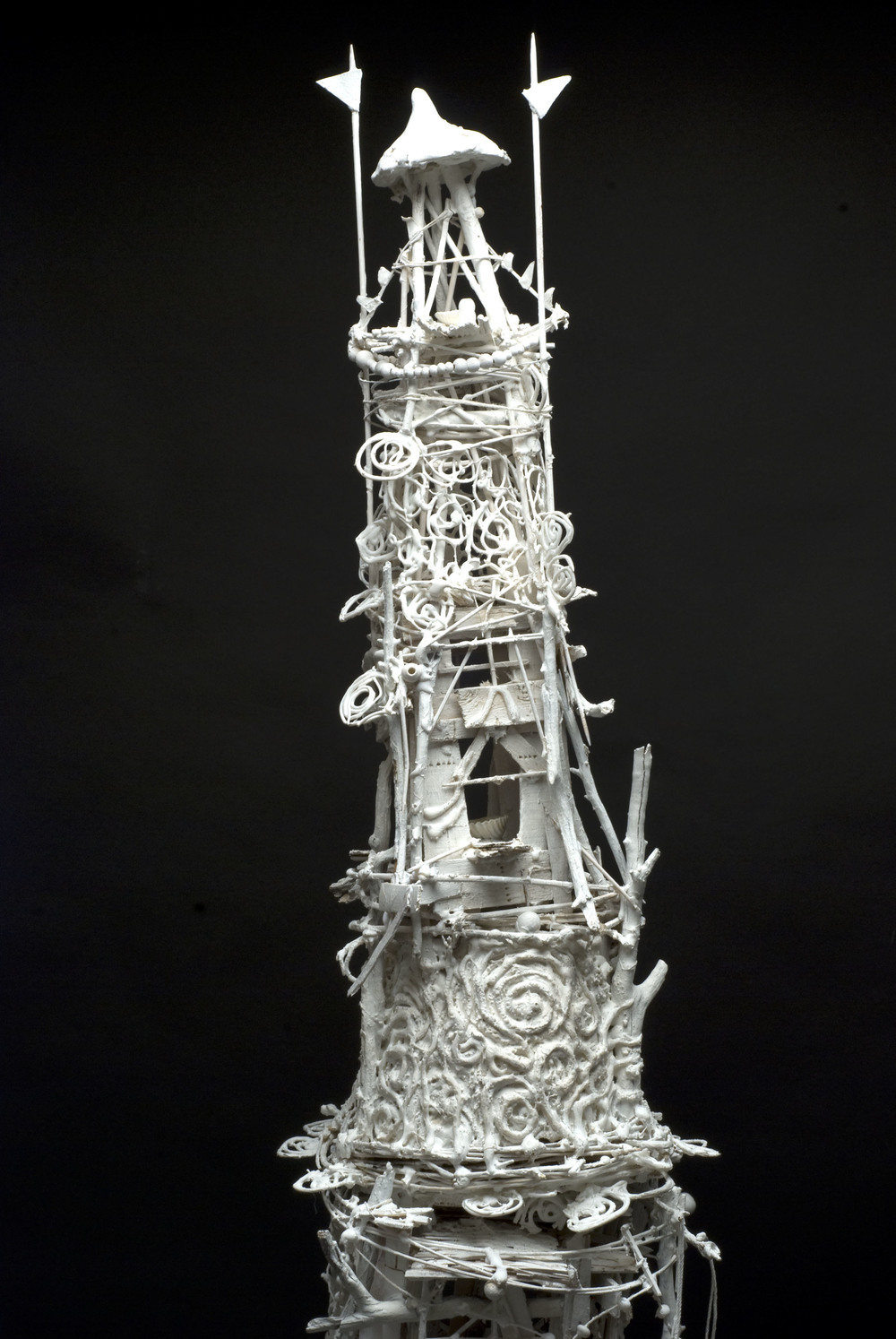 Sylvain Corentin    White Tower (small)  , 2012 Wood, canvas, wire, yarn, glue, paint 63.5 x 10.5 x 11.5 inches  /  161.3 x 26.7 x 29.2 cm  /  SCo 9