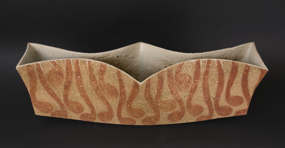 Katsumi Kako    Large Vessel  , 2009 Red Ash Glaze Ceramic 19 x 7 x 5.5 inches  /  48.3 x 17.8 x 14 cm  /  KKa 10