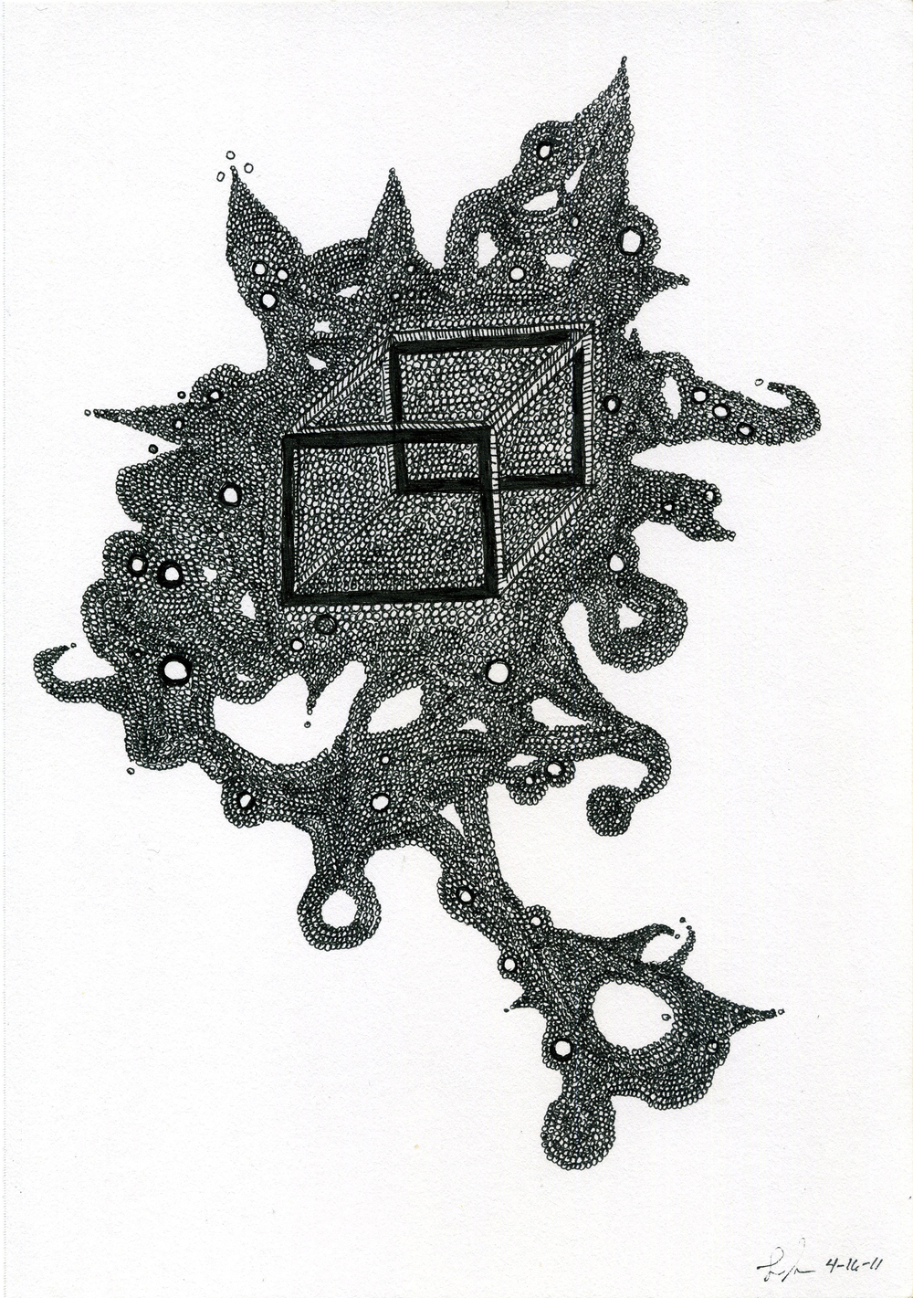 Lauren Sampson    Untitled  , 2011 Ink/paper 10 x 7 inches  /  25.4 x 17.8 cm  /  LaS 4