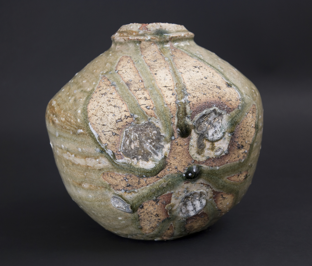 Derek Larsen    Bidoro Jar  , 2011 Ash glazed mountain clay 9 x 8 x 8 inches  /  22.9 x 20.3 x 20.3 cm  /  DLa 12