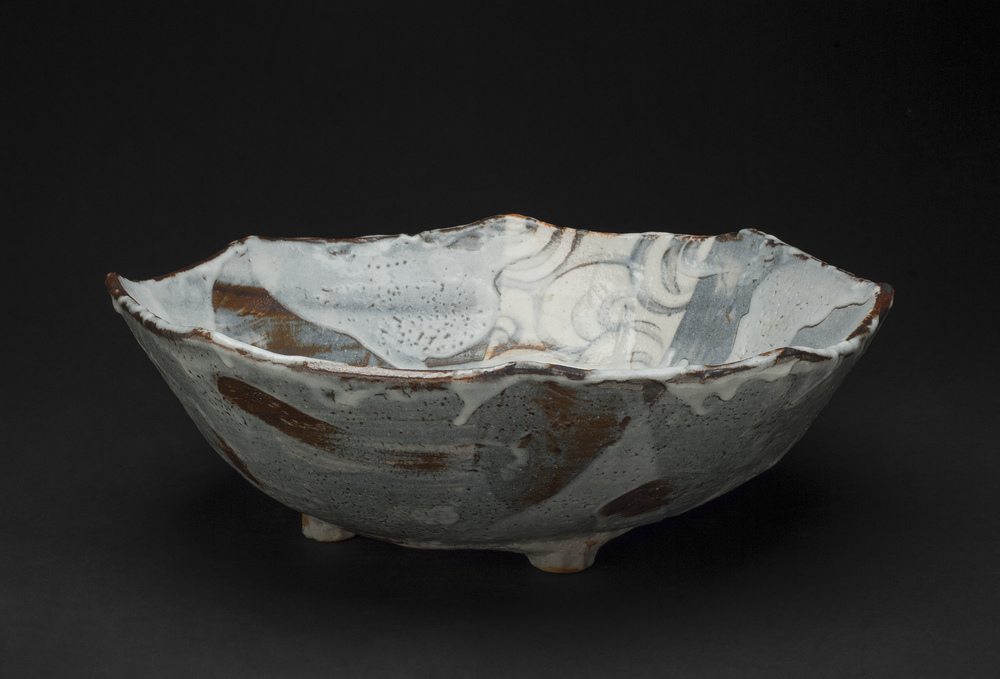 Touri Maruyama    Nezumi Shino Octagonal Large Plate  , 2007 Mino moxa clay with glaze 4.5 x 13.5 inches / 11.4 x 34.3 cm / TMar 6