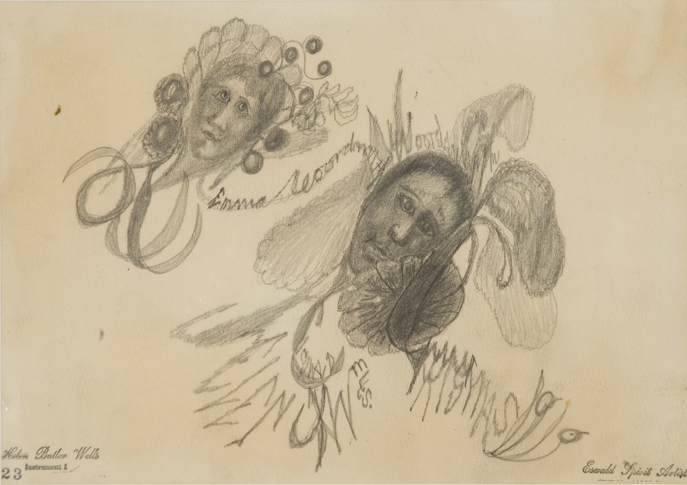 Helen Butler Wells Spirit Drawing #23, Emma & Woodard, 1919 Graphite/paper 7 x 9.5 inches  /  17.8 x 24.1 cm  /  HW 39