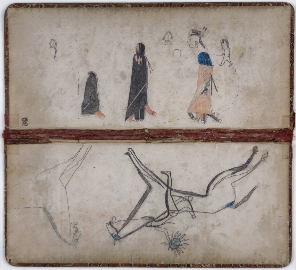 Native American Ledger Book Ends, c. 1890's Graphite, colored pencil on ledger binder 11.5 x 12 in  /  29.2 x 30.5 cm  /  NAm 117