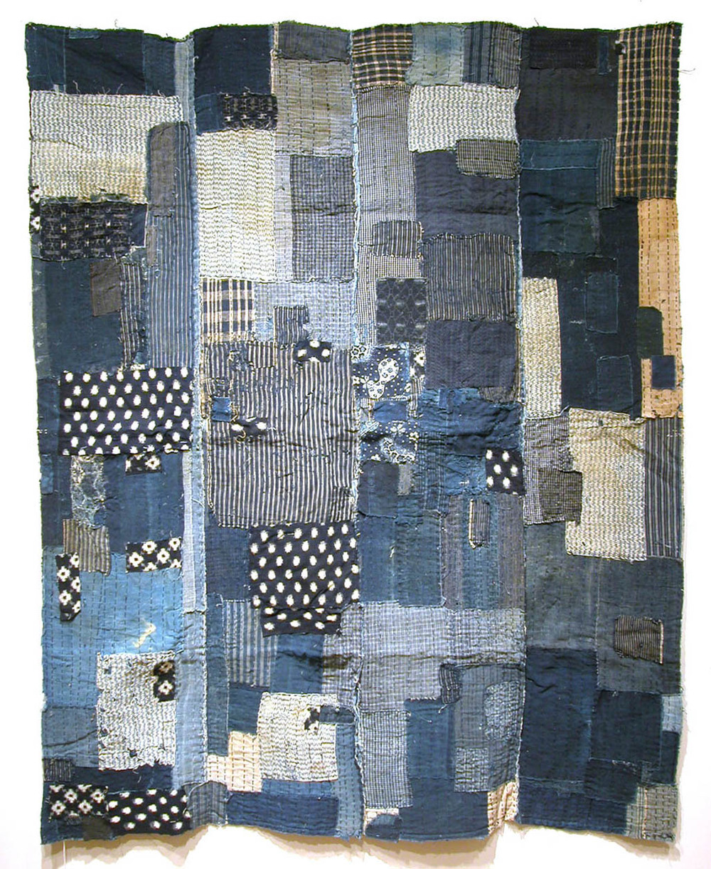 Japanese Textiles Boro, Futon Cover Lining, Futonji, Pre-WWII Sashiko stitching/patchwork 62.5 x 50.5 in / 158.8 x 128.3 cm / JTex 32