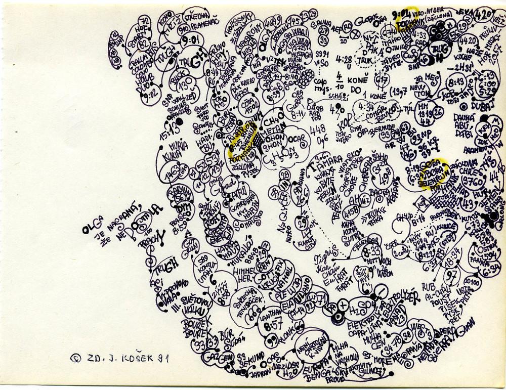 Zdenek Kosek    Untitled  , 1991 Marker/paper 5.75 x 7.75 in / 14.6 x 19.7 cm / ZKo 51
