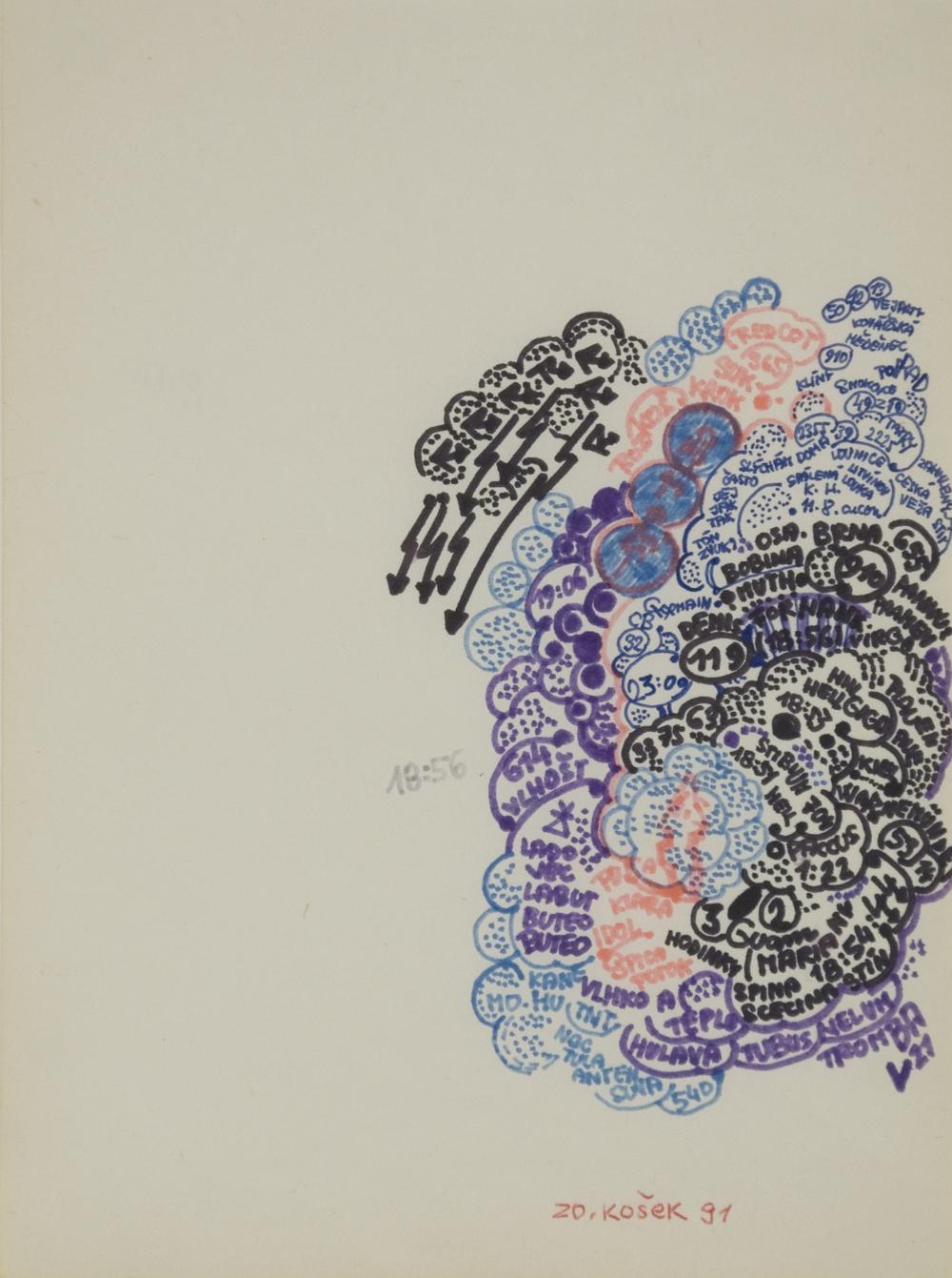 Zdenek Kosek    Untitled  , 1991 Ink, marker/paper 7.75 x 5.75 inches / 19.7 x 14.6 cm / ZKo 84
