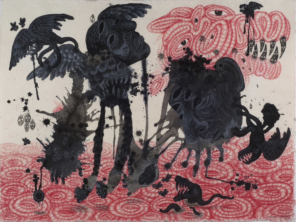 Kriangkrai Kongkhanun    Black Tears  , 2013 Chinese ink, pen, pencil on Thai handmade paper 23.62 x 31.5 inches  /  60 x 80 cm  /  KrK 3