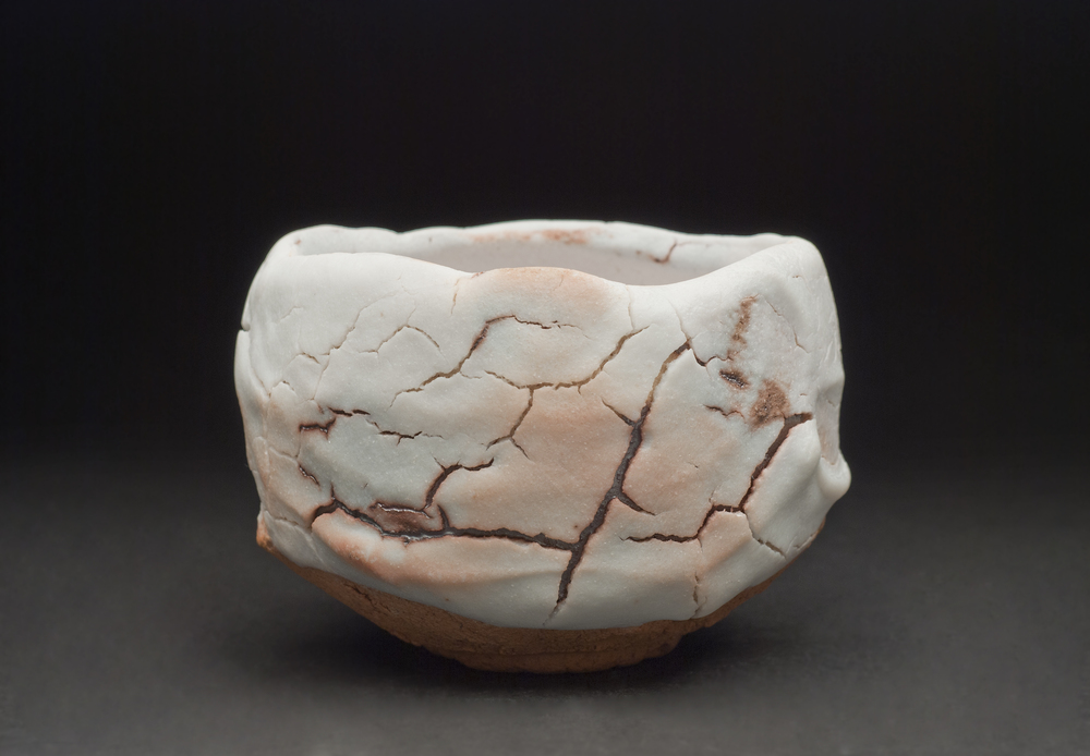Shigemasa Higashida    Snow Colored Shino Tea Bowl  , 2011 Earthenware 4 x 5.5 inches  /  10.2 x 14 cm  /  SHig 4