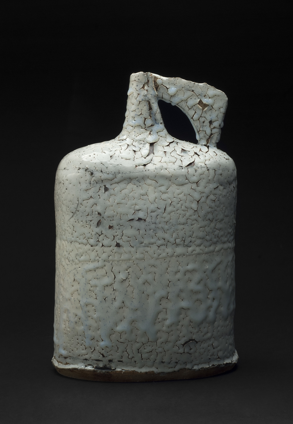 Jane Wheeler    Black Ice Flagon  , 2013 Stoneware clay with chun glaze, slab built 14.75 x 9.45 x 6.5 inches  /  37.5 x 24 x 16.5 cm  /  JWh 3
