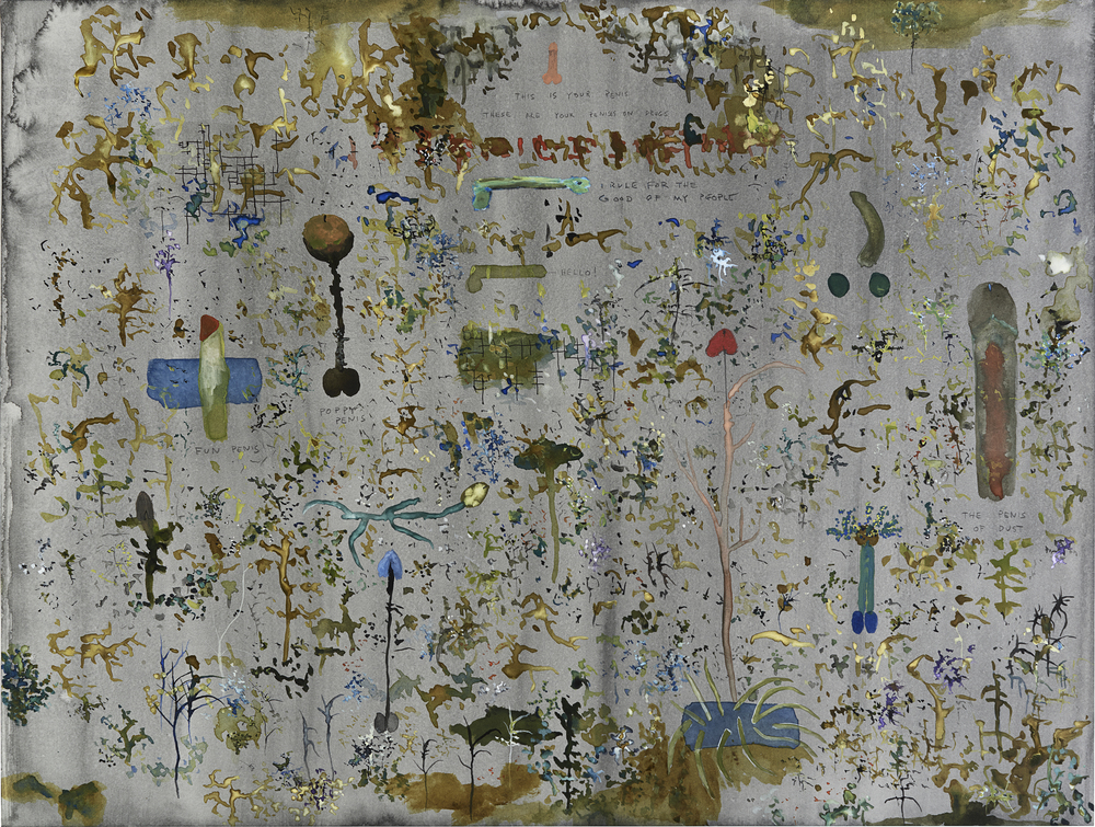 John Lurie    This is your penis. These are your penises on drugs.  , 2014 Watercolor, graphite on paper 18 x 24 inches  /  45.7 x 61 cm  /  JLur 15