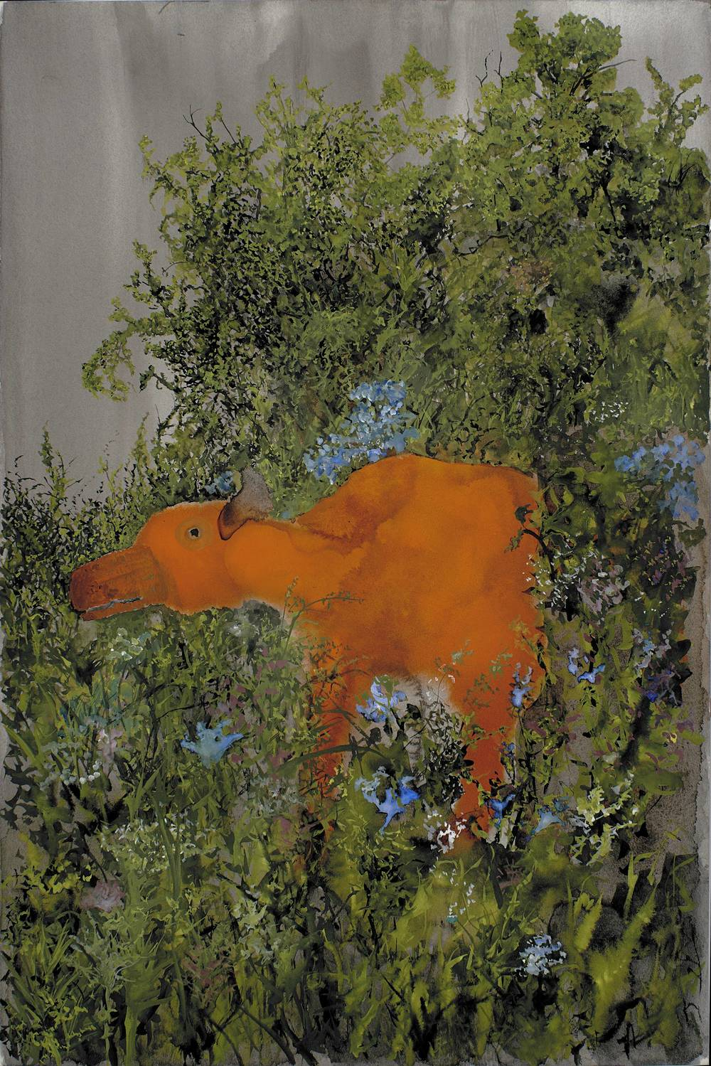 John Lurie    Contrary to popular belief, I mind walking through thorn bushes, I go there because you aren't  , 2013 Watercolor on paper 18 x 12 inches  /  45.7 x 30.5 cm  /  JLur 7