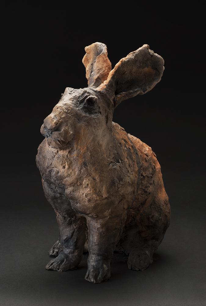 Susan Halls    Uber Bunny  , 2014 Raku-fired clay 17 x 14.5 x 8.5 inches 43.2 x 36.8 x 21.6 cm SuH 6