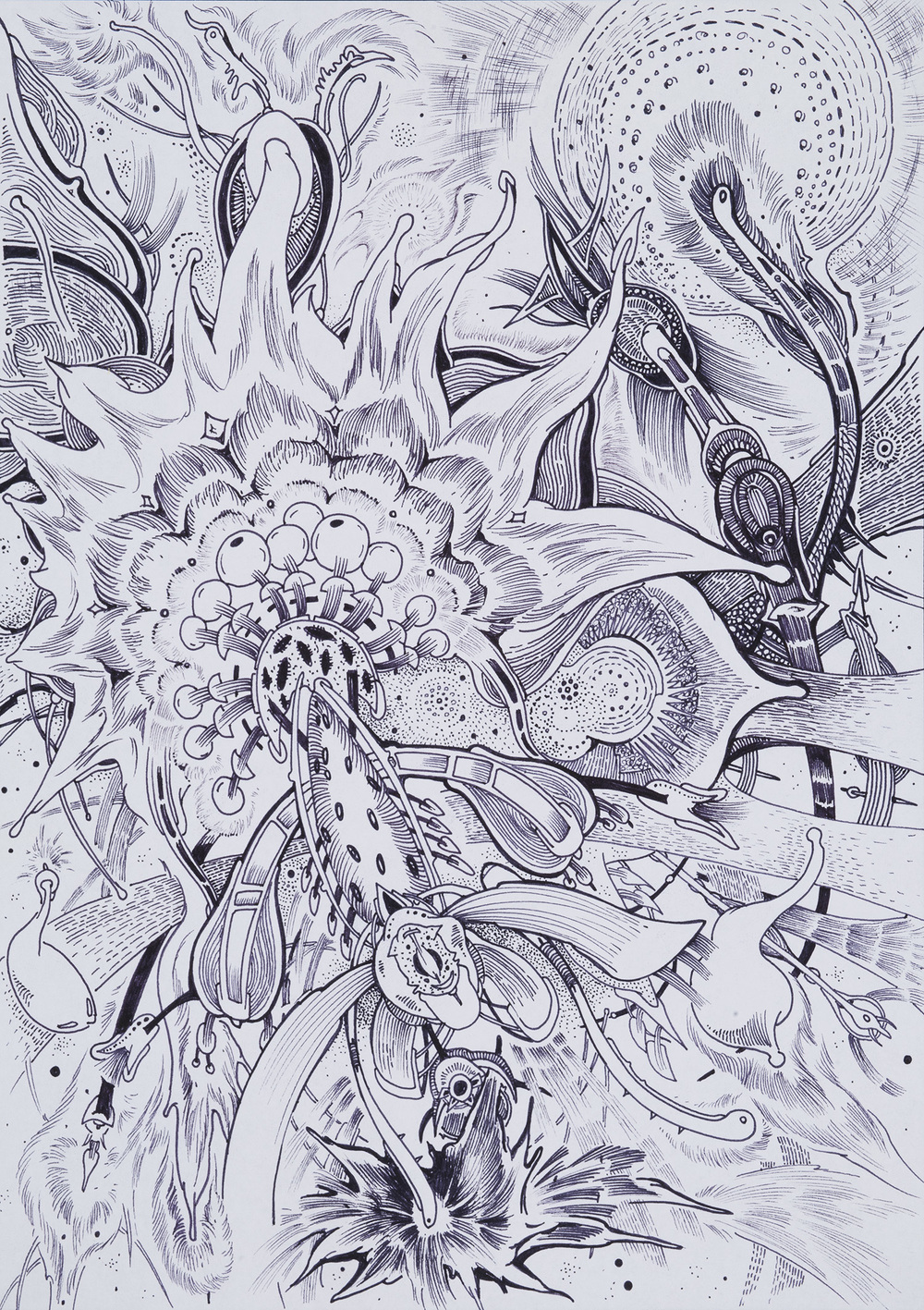 Jaroslav Čevora    kosmické babí léto / cosmic indian summer  , 2007 China ink on paper 11.81 x 8.27 inches 30 x 21 cm JCev 5