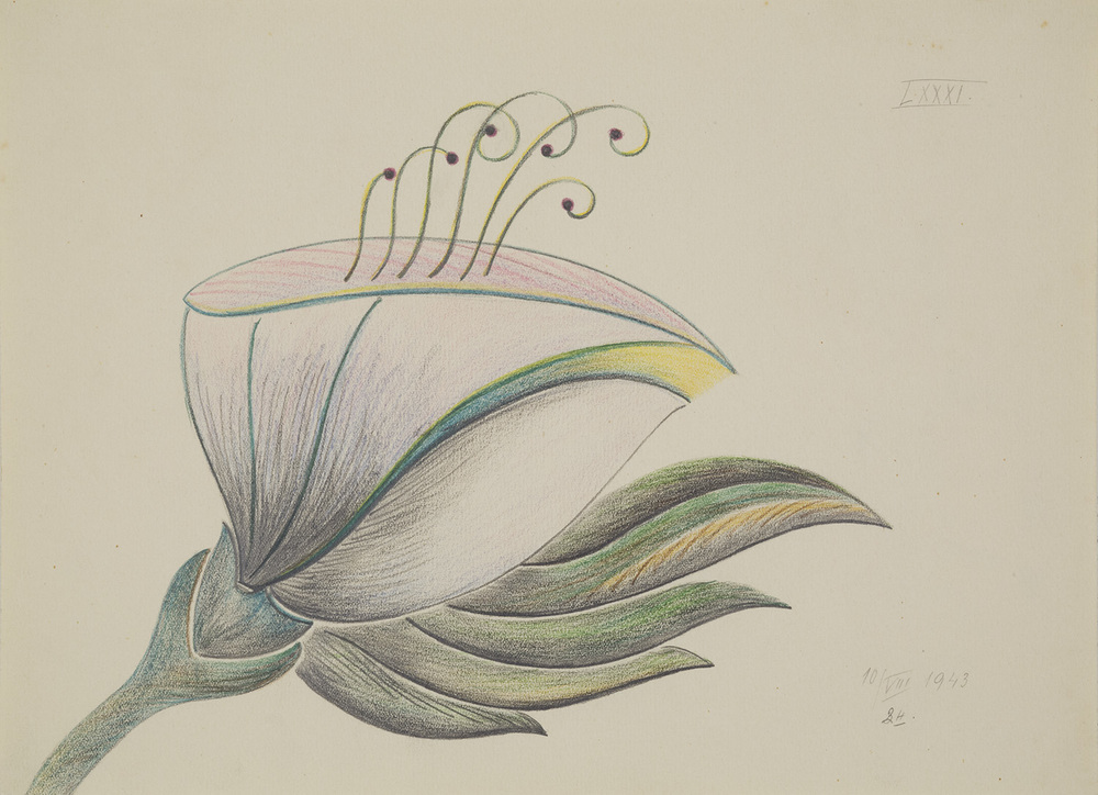Czech Republic    Anonymous Mediumistic Drawing  , 8/10/1943 Crayon on paper 8.66 x 11.81 inches 22 x 30 cm Cze 25