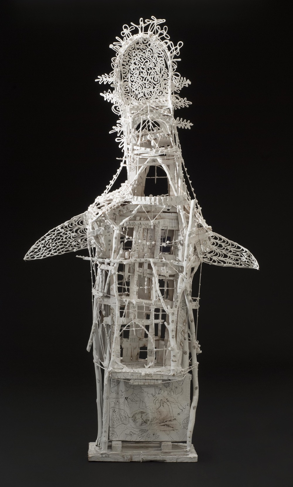 Sylvain Corentin    Bird in a Temple  , 2014 Wood, canvas, wire, yarn, glue, paint 48 x 26 x 5 inches 121.9 x 66 x 12.7 cm SCo 13