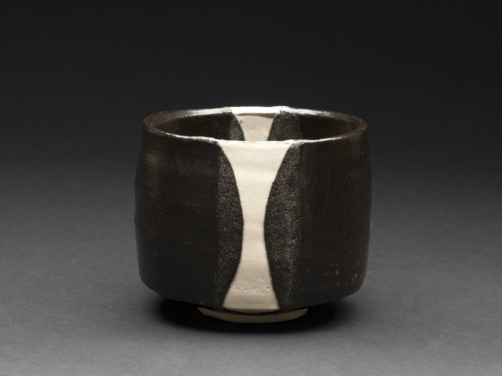 Richard Milgrim    Kuro Oribe Chawan  , artist blend clay from Gifu Ceramic 4.06 x 3.46 inches 10.3 x 8.8 cm RMi 8