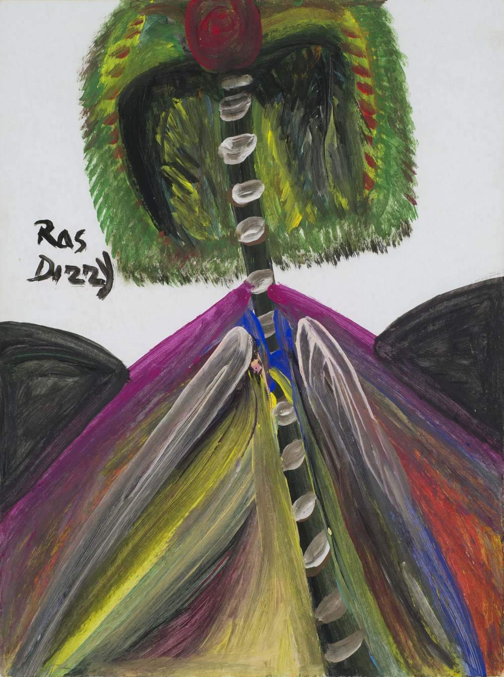 Ras Dizzy    Strive Coconuts Drink Plenty of It Tropical  , 1998 Tempera/matboard 14.5 x 11 inches 36.8 x 27.9 cm RD 77