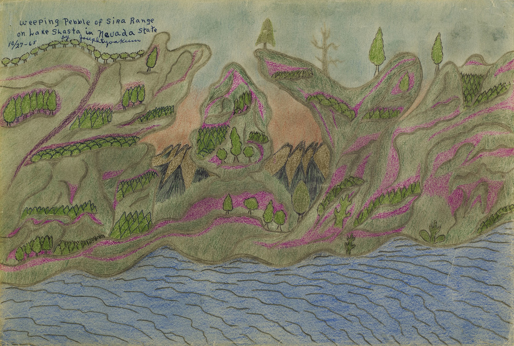 Joseph Yoakum, Weeping Pebble of Sira Range on Wake Shasta in Nevada State, 10/27/1965, Colored Pencil, graphite, and ink on paper, 12 x 18 inches, 30.5 x 45.7 cm, JY 42