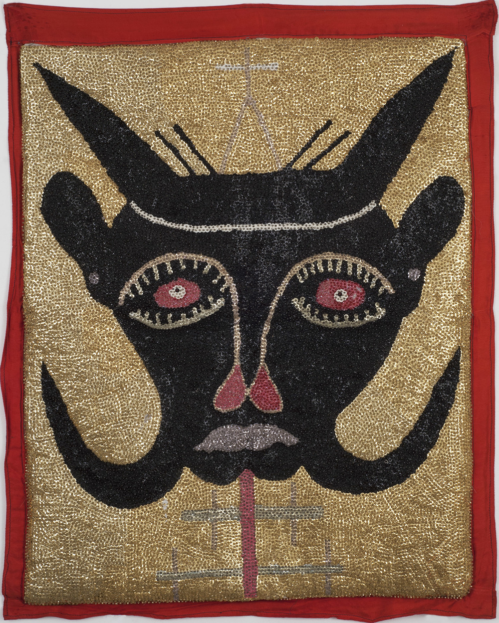 Haiti    Bosou Flag  , Mid. 20th C. Sequins on cotton cloth 31 x 25.5 in  (78.7 x 64.8 cm) Hai  17