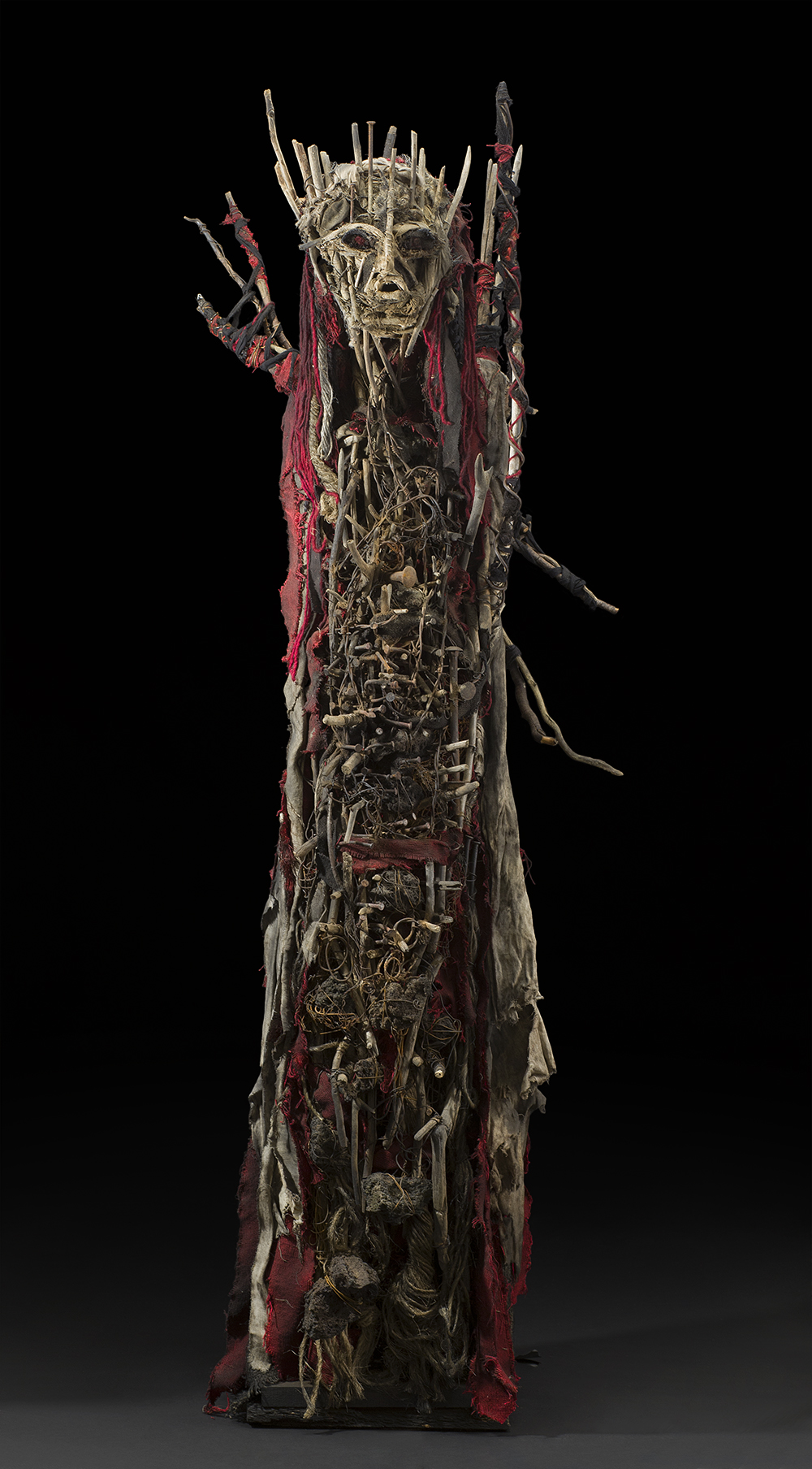 Sylvain and Ghyslaine Staelens    Personnage  , 2015 Wood, metal, cloth, found objects 66 x 21 x 14 inches| 167.6 x 53.3 x 35.6 cm GSS 43