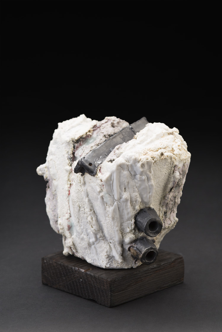 Eddie Curtis    Object  , 2014 Handformed clay, applied texture and oxides on outer surface, on wood stand 5 x 5 x 4 inches 12.7 x 12.7 x 10.2 cm ECu 5