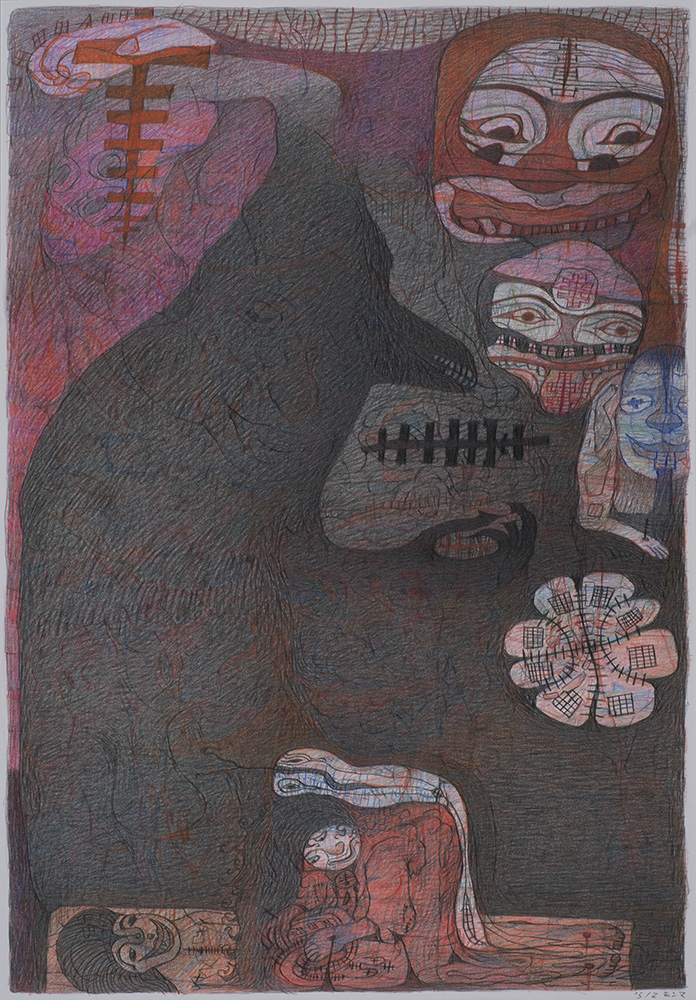 M'onma    Untitled  , 2004 Pen and ink on paper 14.5 x 9.875 inches 36.8 x 25.1 cm IMo 54