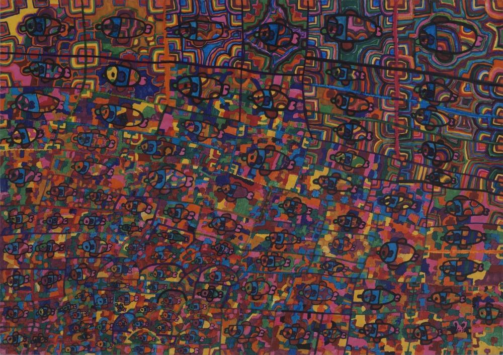 Yukio Miyashita    Fish  , 2011 Marker on paper 14.96 x 21.26 inches 38 x 54 cm YMi 37