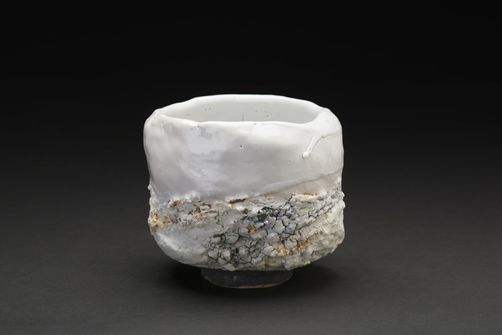Eddie Curtis    Chawan  , 2014 Clay, applied texture and oxides on outer surface, shino glaze on rim and inner surface 4 x 4.75 x 4.75 inches 10.2 x 12.1 x 12.1 cm ECu 7