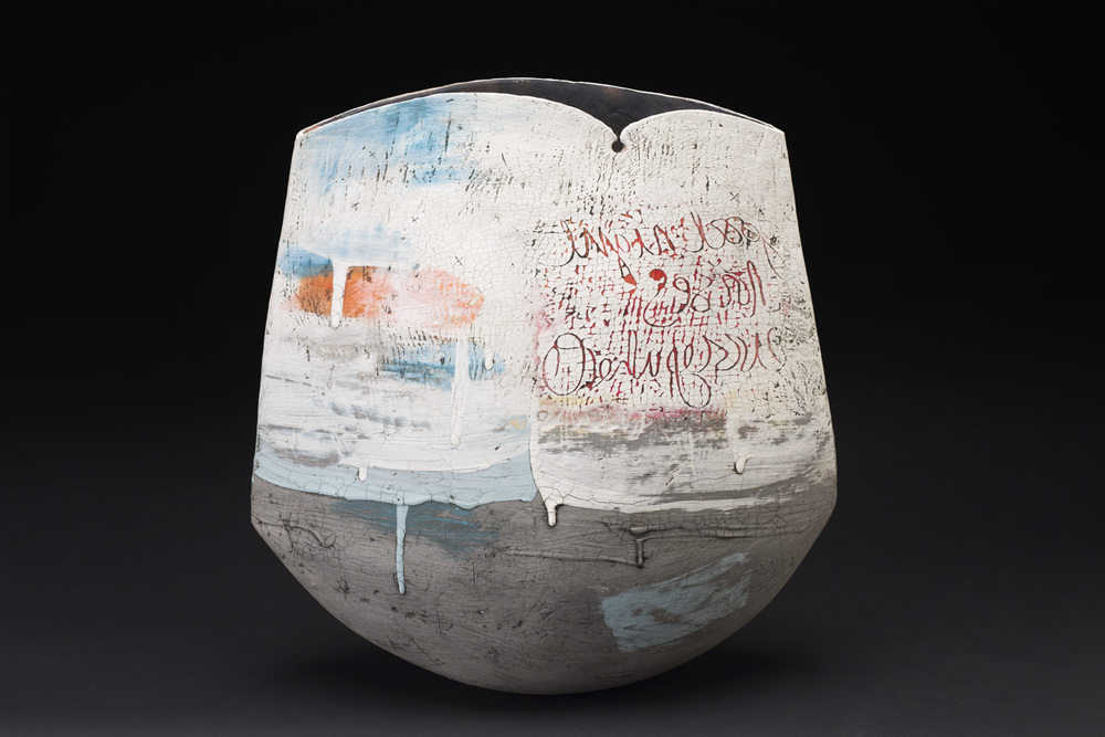 Lesley McInally    Goodnight Noises Everywhere  , 2015 Porcelain and stoneware coil vessel 17 x 18 x 8 inches 43.2 x 45.7 x 20.3 cm LMc 1