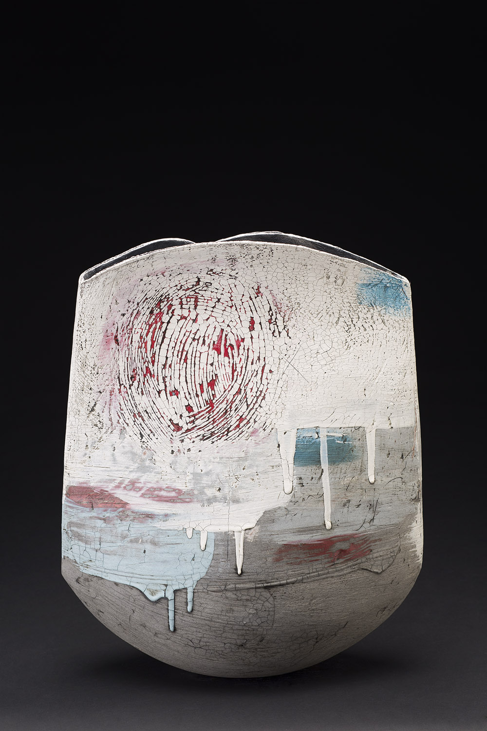 Lesley McInally    Forever  , 2015 Porcelain and stoneware coil vessel 16 x 15 x 7 inches 40.6 x 38.1 x 17.8 cm LMc 2