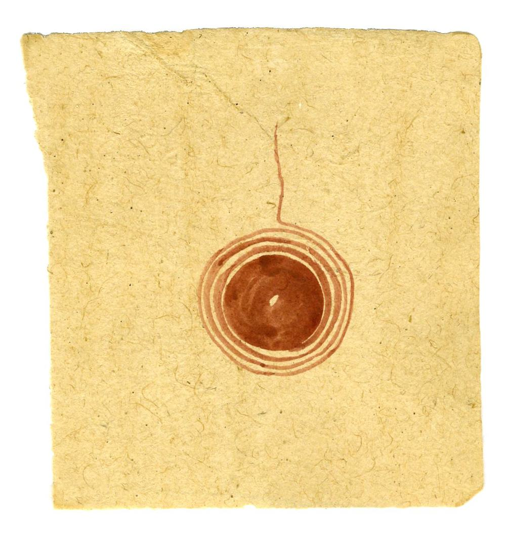 Tantra    Untitled  , ca. 1980-2014 Natural pigments (hand-ground colors: including minerals, mother of pearl, coral, tree resin, vegetable pastes) on vintage paper 5.98 x 5.75 inches 15.2 x 14.6 cm Tant 19