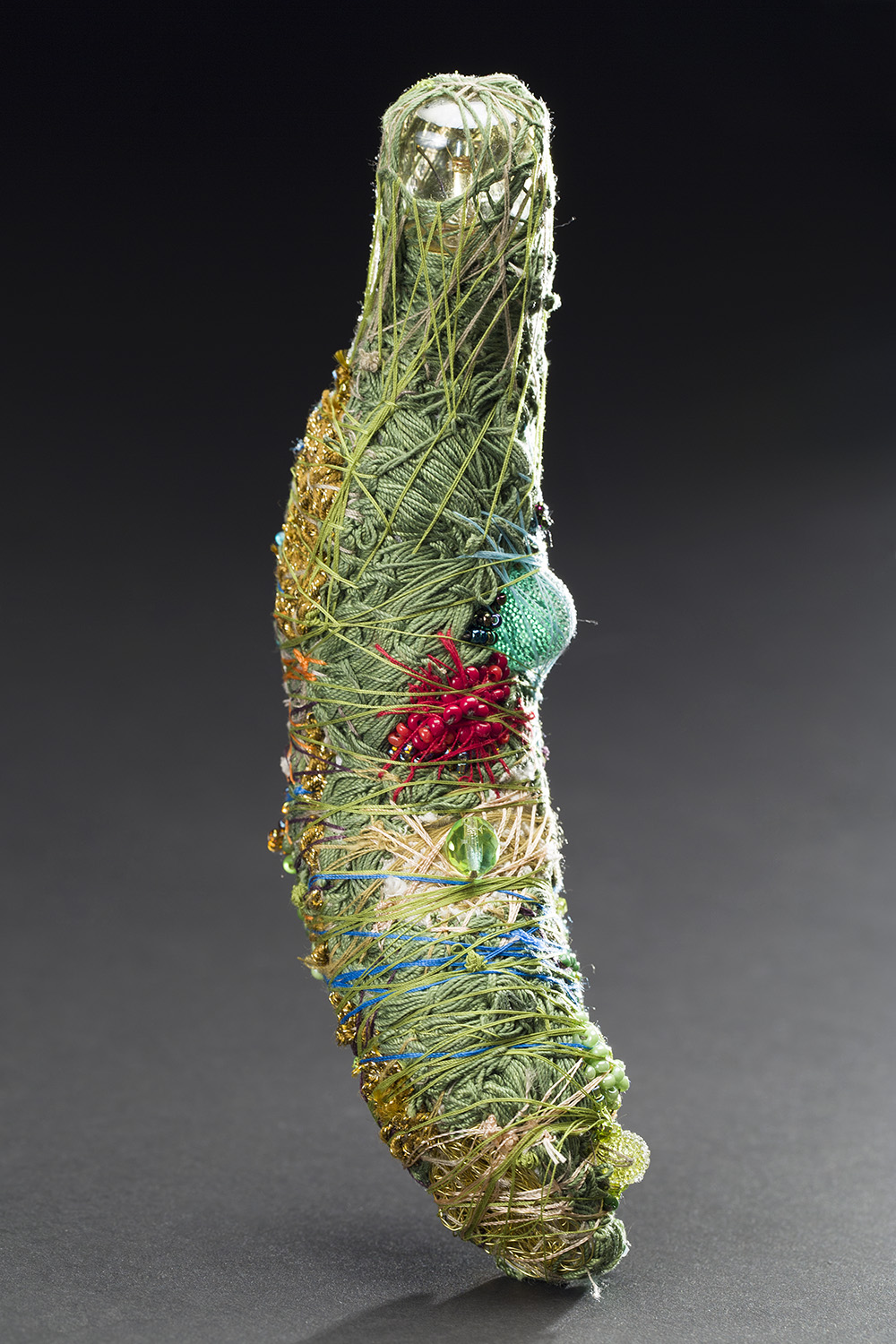 Sandra Sheehy    Untitled  , 2015 Beads, thread, sequins, fabric, light bulb 7 x 2 x 2 inches 17.8 x 5.1 x 5.1 cm SSe 95