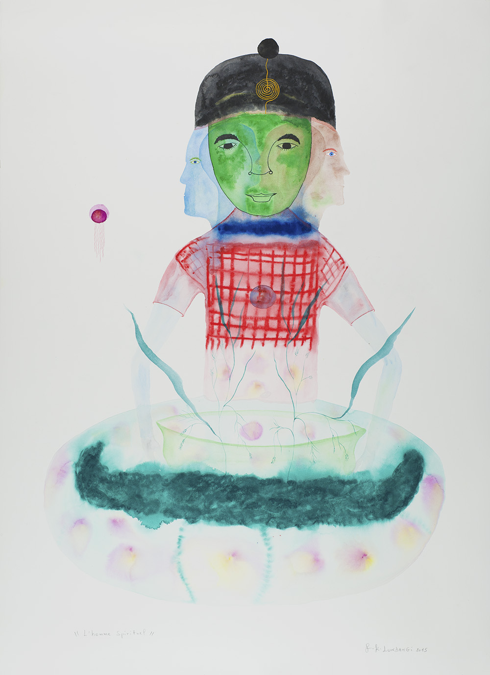 Franck K. Lundangi    L'homme Spirituel  , 2015 Watercolor, ink on paper 41 x 29.5 inches 104.1 x 74.9 cm FLu 36