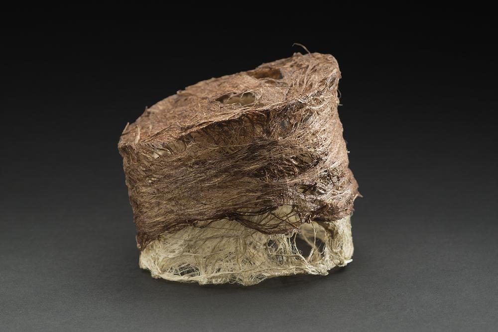 Yuko Kimura    Kozo I  , 2015 Persimmon dye on kozo bark fiber, thread 3 x 3 x 3 inches 7.6 x 7.6 x 7.6 cm YuK 34