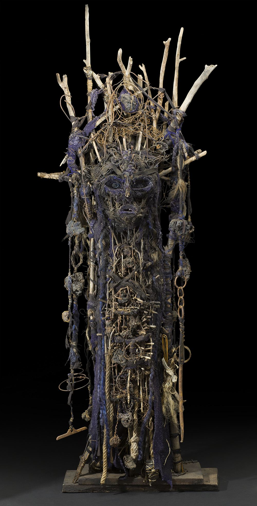 Sylvain and Ghyslaine Staelens    Totem   , 2015 Wood, metal, cloth, found objects 73 x 25 x 11 inches 185.4 x 63.5 x 27.9 cm GSS 44