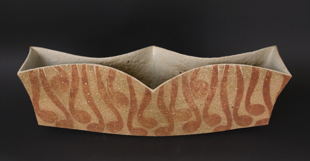 Katsumi Kako    Large Vessel  , 2009 Red Ash Glaze Ceramic 19 x 7 x 5.5 inches 48.3 x 17.8 x 14 cm KKa 10
