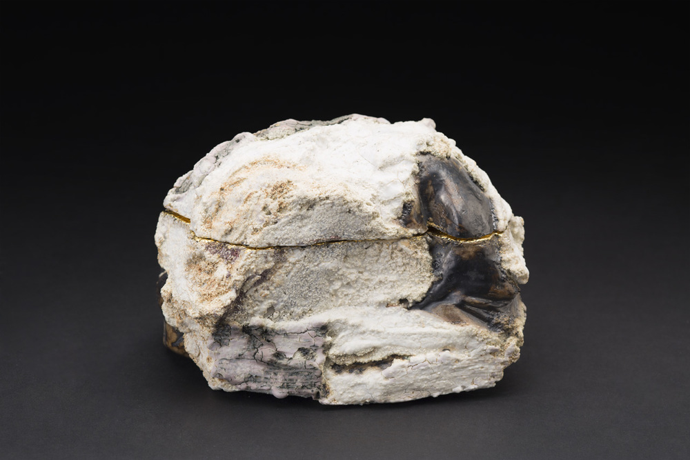 Eddie Curtis    Rock  , 2014 Clay, applied texture and oxides to outer surface, celadon green inner surface, 22ct gold detailing 4 x 6.5 x 4.75 inches 10.2 x 16.5 x 12.1 cm ECu 2