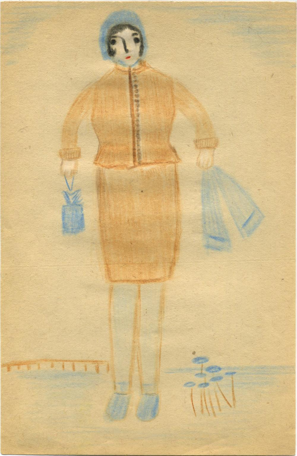 Bertha Wuilleumier    Untitled  , 1953 Color pencil on paper 8.2 x 5.3 inches 20.8 x 13.5 cm BWu 11