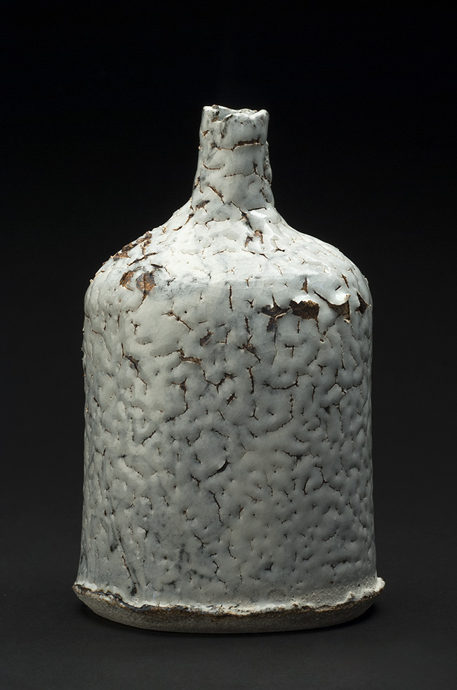 Jane Wheeler    Black Ice Impressed Bottle  , 2013 Stoneware clay with chun glaze, slab built 7 x 4.75 x 4.25 inches 17.8 x 12.1 x 10.8 cm JWh 7