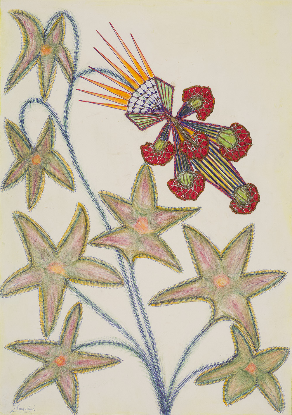 Anna Zemánková, Untitled, 1970s, Pastel, ball point pen and embroidery on paper, 24.61 x 17.72 inches, 62.5 x 45 cm, AZe 589
