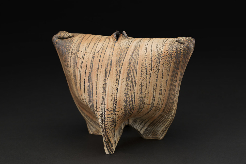 Akira Satake    Vase  , 2010 Stoneware, kohiki glaze 5.5 x 8 x 6.25 inches 14 x 20.3 x 15.9 cm ASa 1
