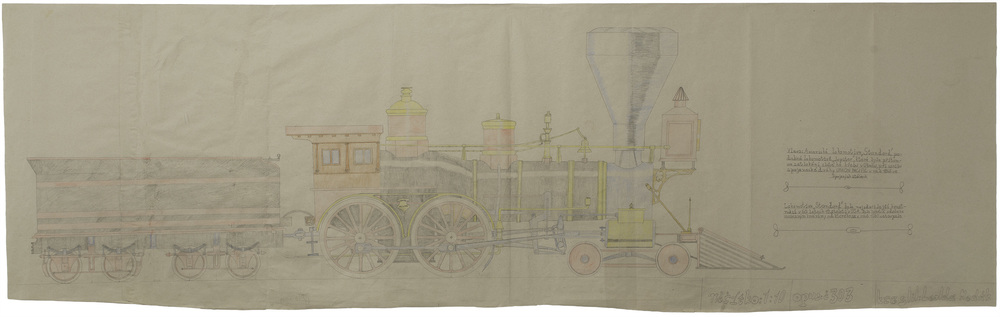Leos Wertheimer   Opus 303, Amerika Lokomotiva  , n.d. Graphite, colored pencil/paper 22.5 x 73 inches 57.2 x 185.4 cm LWer 2