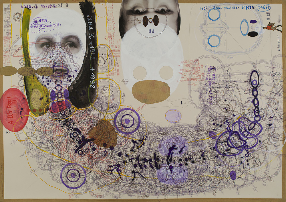Luboš Plný, Untitled, 2013, Ink, acrylic, mixed media on paper, 23.5 x 33 inches, 59.7 x 83.8 cm, LuP 58