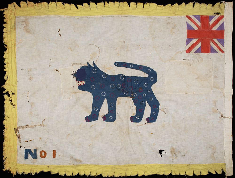 Africa    Asafo Flag - Fante People - Ghana  , Pre 1957 Cotton fabric with felt 38 x 49.5 inches 96.5 x 125.7 cm AF 365
